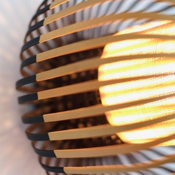 Aplique de pared Bamboo Light M natural y negro Forestier-635