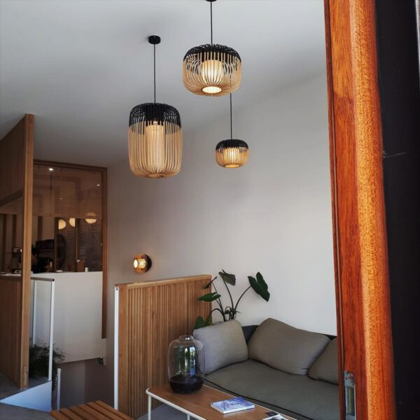 Aplique de pared Bamboo Light M natural y negro Forestier-1625