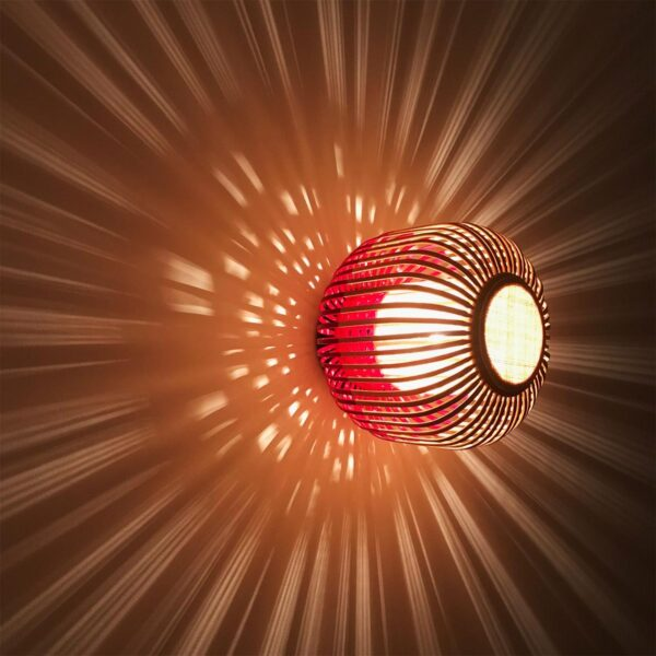 Aplique de pared Bamboo Light XS natural y rojo Forestier-917