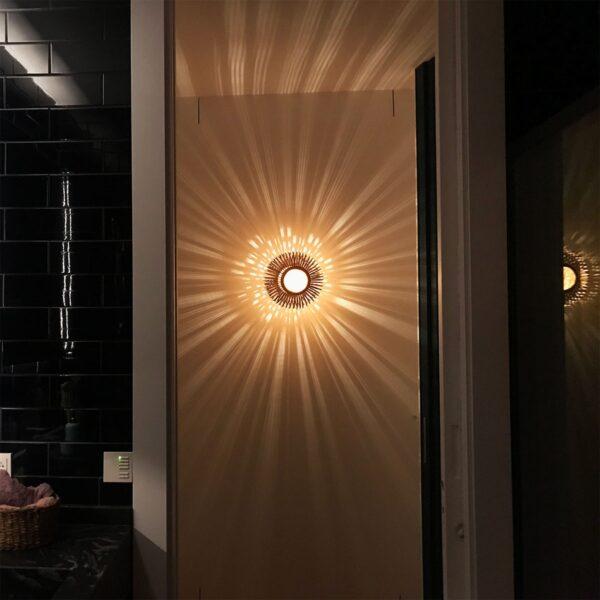 Aplique de pared Bamboo Light XS natural y rojo Forestier-920