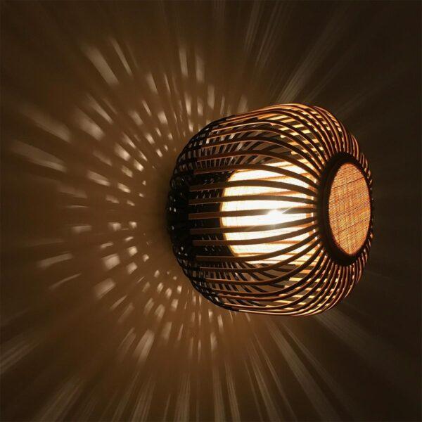 Aplique de pared Bamboo Light M natural y negro Forestier-916