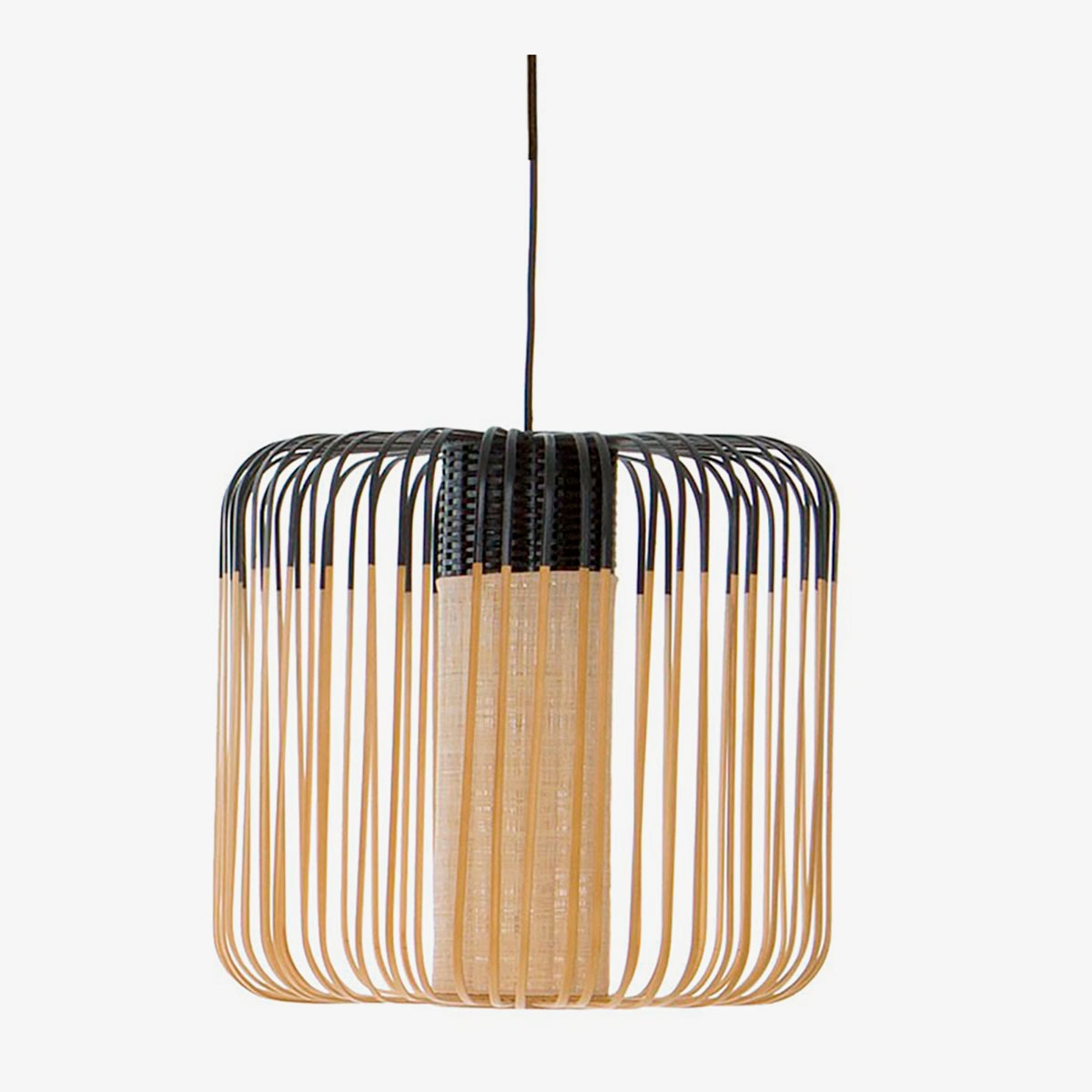 Lámpara colgante Bamboo Light M natural y negro Forestier-0