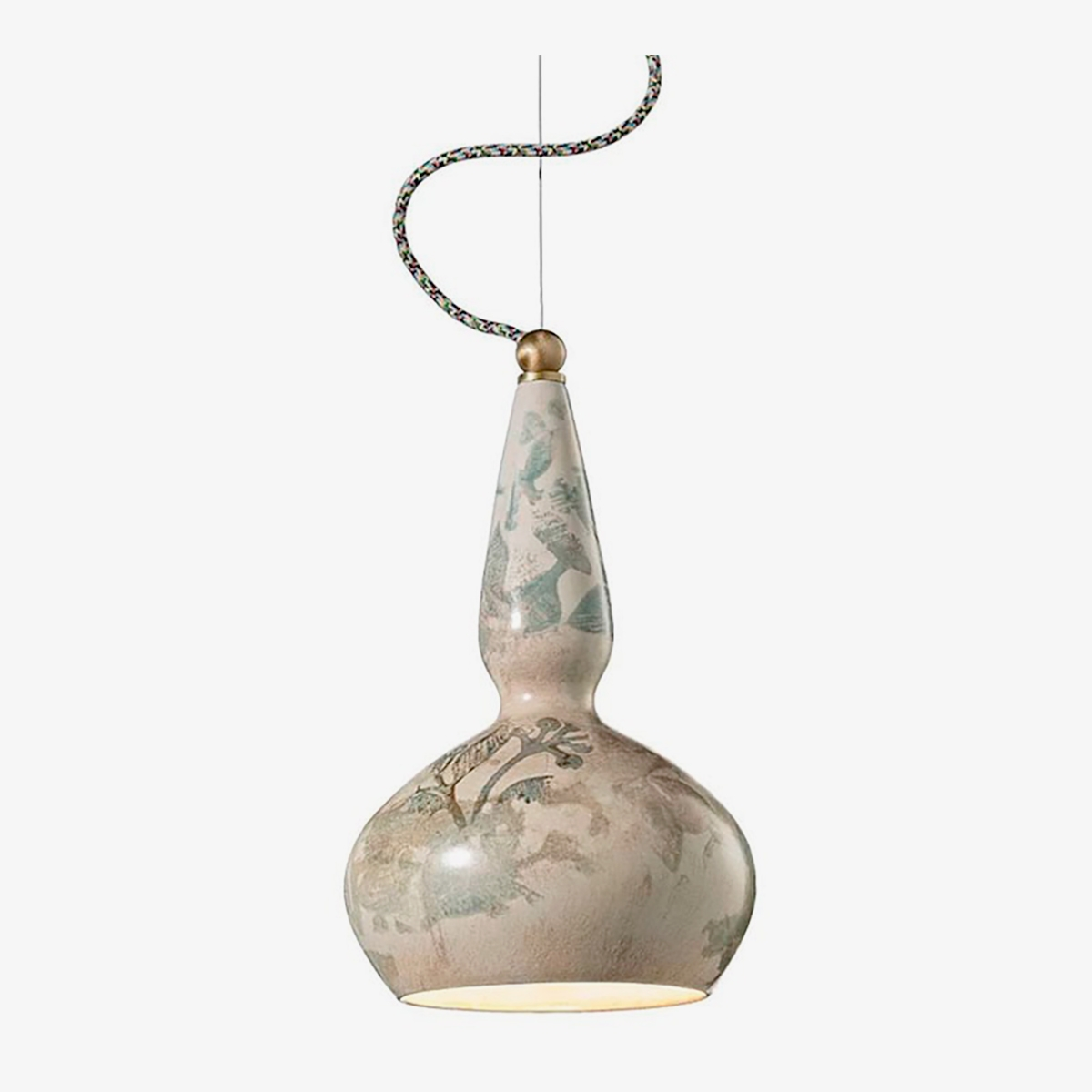 Lámpara colgante estampado cerámica 2 Ferroluce-0