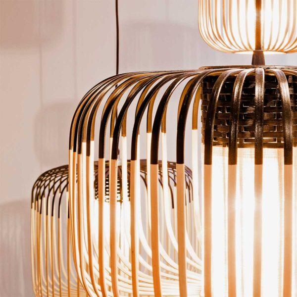 Lámpara colgante exterior Bamboo Light M natural y negro Forestier-645