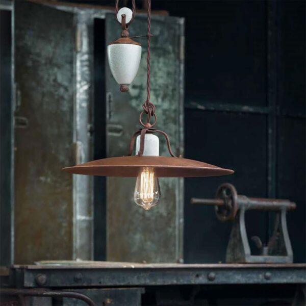 Lámpara colgante Grunge marron Ferroluce-670