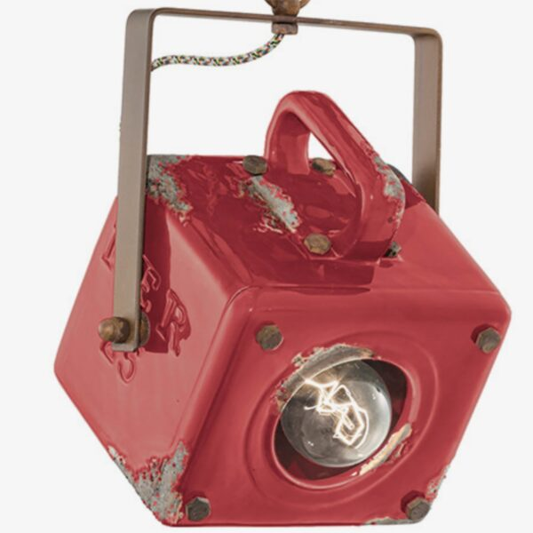 Lámpara colgante Industrial cerámica rojo Ferroluce -680