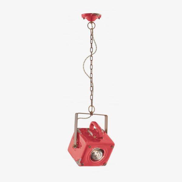 Lámpara colgante Industrial cerámica rojo Ferroluce -0