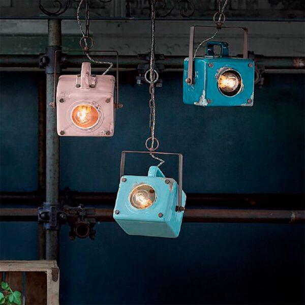 Lámpara colgante Industrial cerámica verde Ferroluce -678