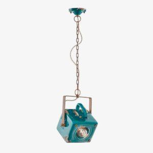 Lámpara colgante Industrial cerámica verde Ferroluce -0