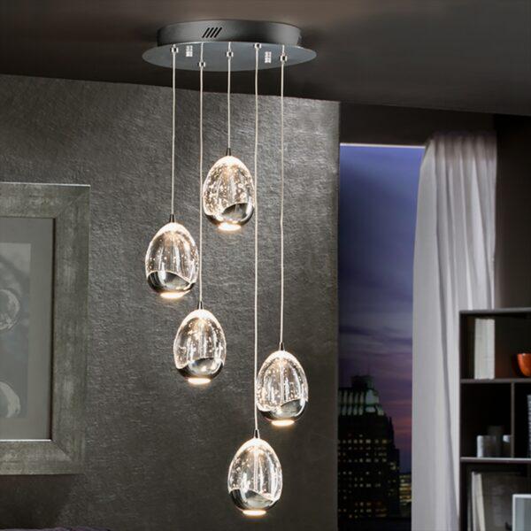 Lámpara colgante Rocio 5LED cromo Schuller-1706