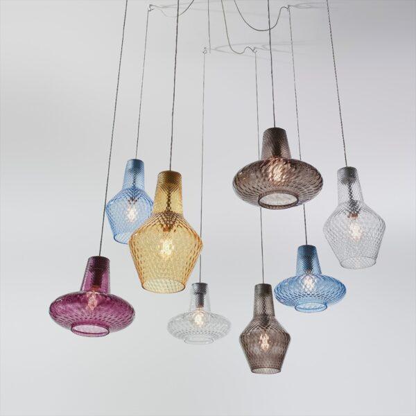 Lámpara colgante Romeo ámbar Zafferano-1777