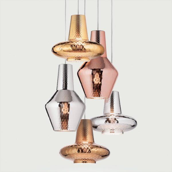 Lámpara colgante Romeo metalizado plata Zafferano-1783