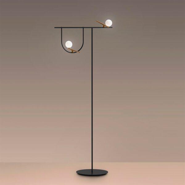 Lámpara de pie Yanzi LED latón Artemide-1564