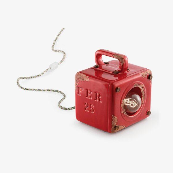 Lámpara de sobremesa Industrial rojo Ferroluce-0