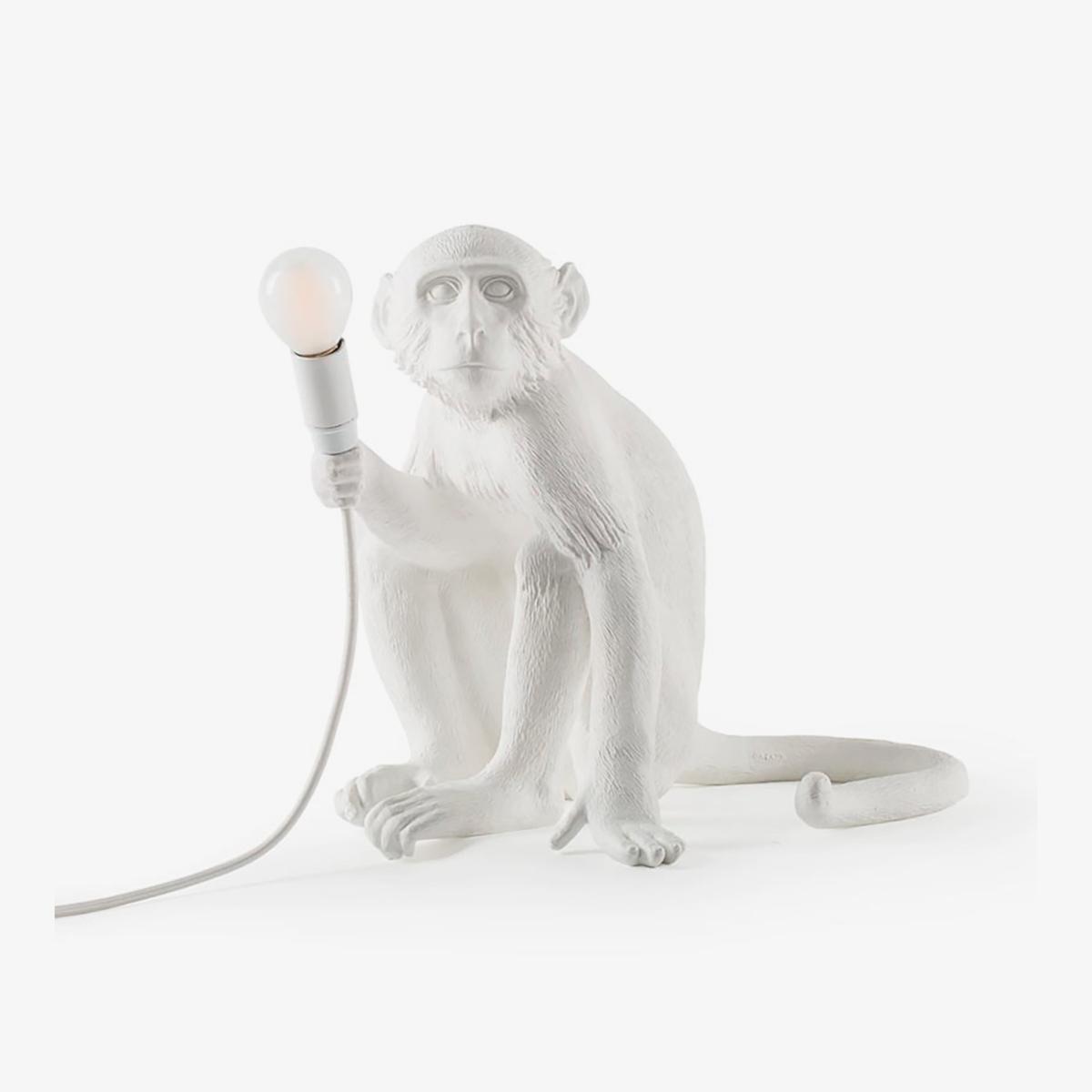 Lámpara de sobremesa Monkey blanco sentado Seletti-0