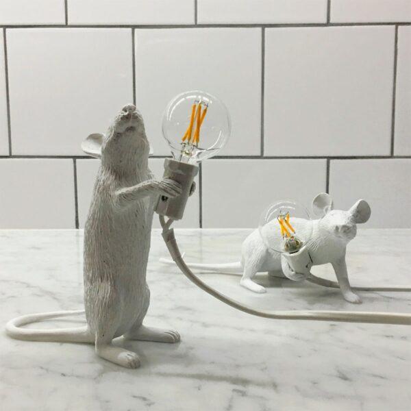 Lámpara de sobremesa Mouse blanco levantado Seletti-873