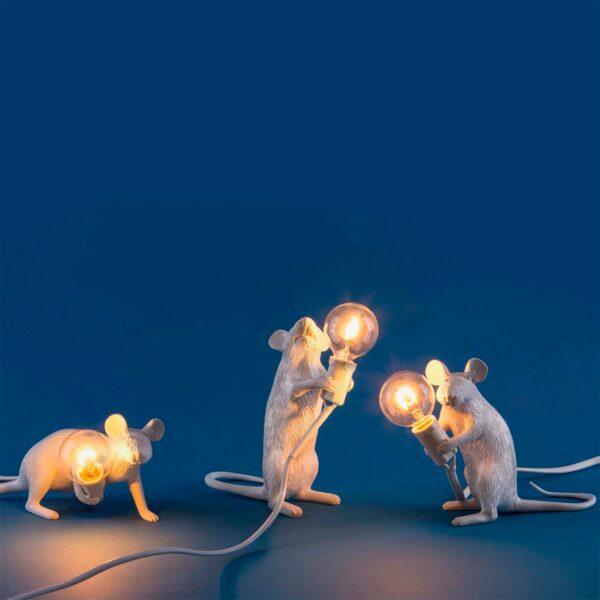 Lámpara de sobremesa Mouse blanco levantado Seletti-877