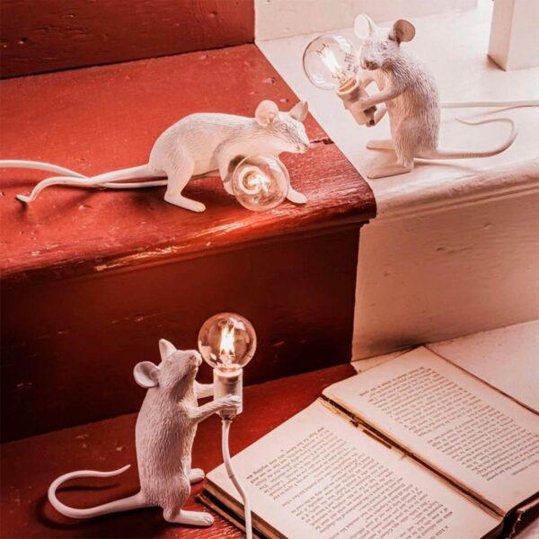 Lámpara de sobremesa Mouse blanco levantado Seletti-874
