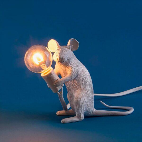 Lámpara de sobremesa Mouse blanco sentado Seletti-878