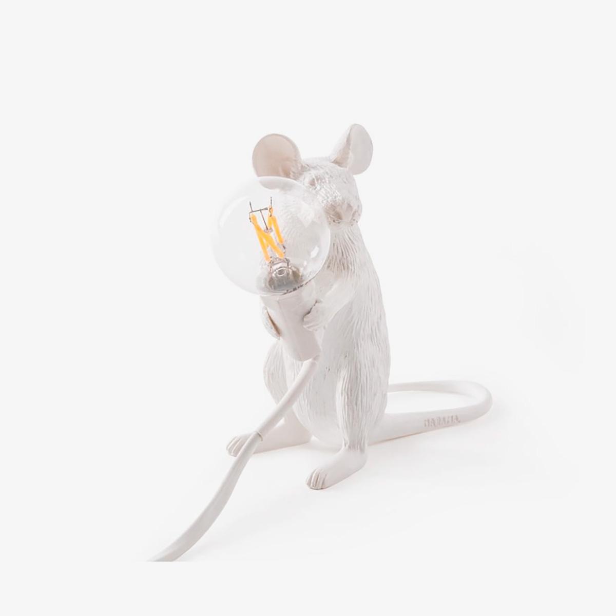 Lámpara de sobremesa Mouse blanco sentado Seletti-0