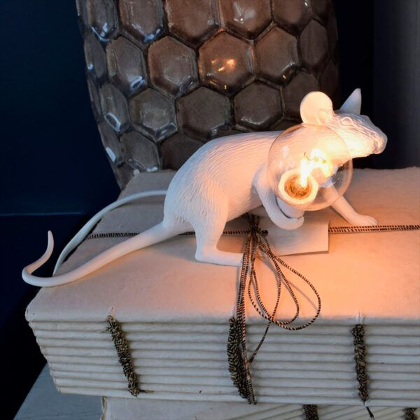 Lámpara de sobremesa Mouse blanco tumbado Seletti-1720