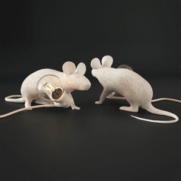 Lámpara de sobremesa Mouse blanco tumbado Seletti-884