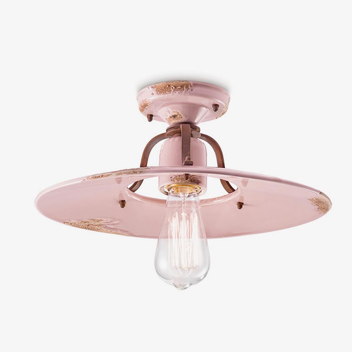 Lámpara de techo plafón Country rosa Ferroluce-0