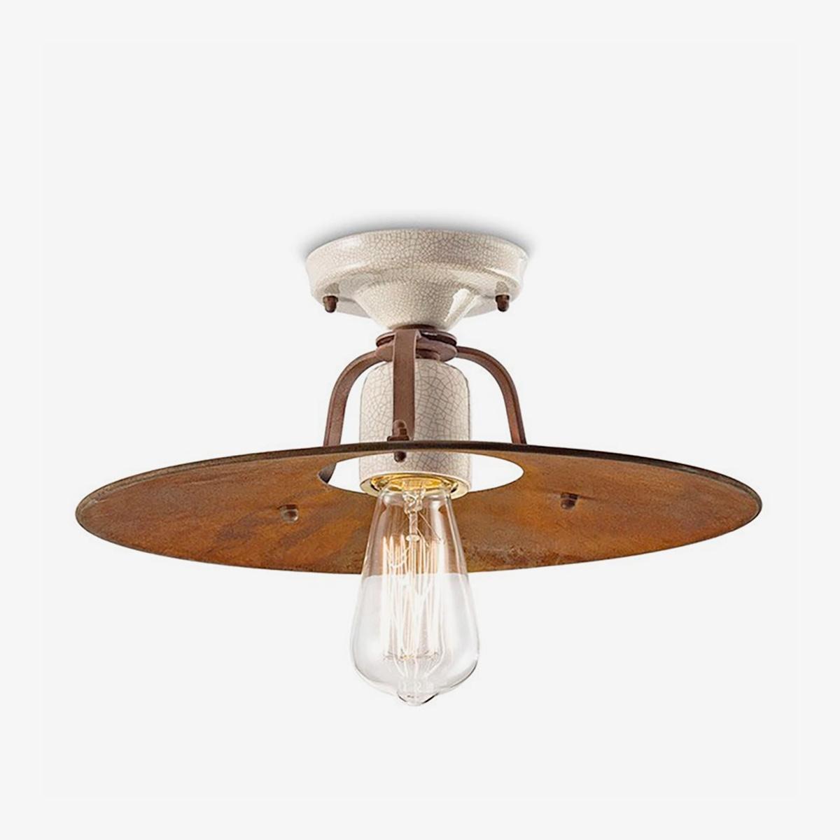 Lámpara de techo plafón Grunge marrón Ferroluce-0