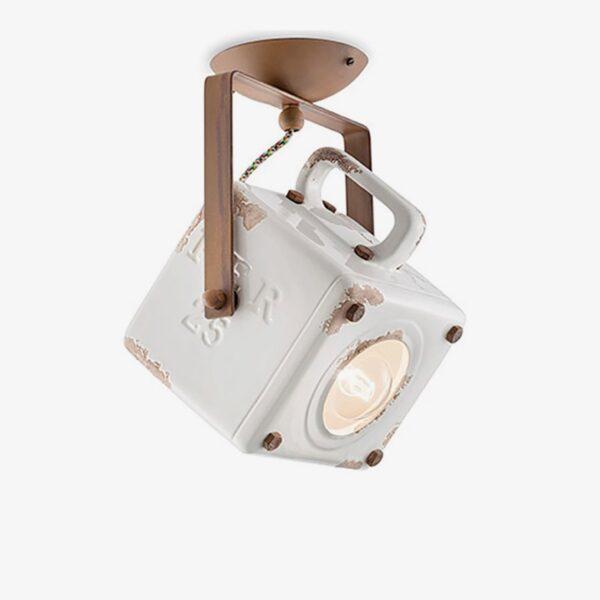 Lámpara de techo plafón Industrial cerámica blanco Ferroluce-0
