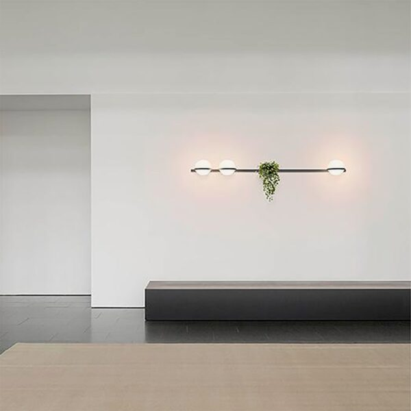 Aplique de pared Palma triple esfera planta grafito Vibia-1243