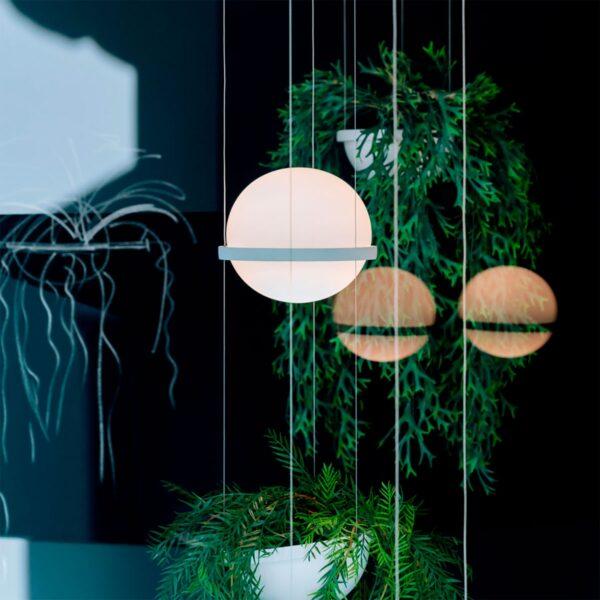 Lámpara colgante Palma esfera planta blanco Vibia-1218