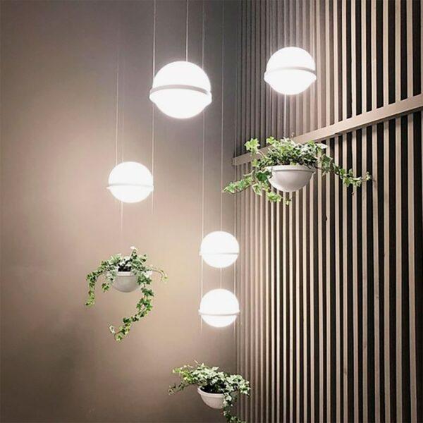 Lámpara colgante Palma esfera planta blanco Vibia-1220