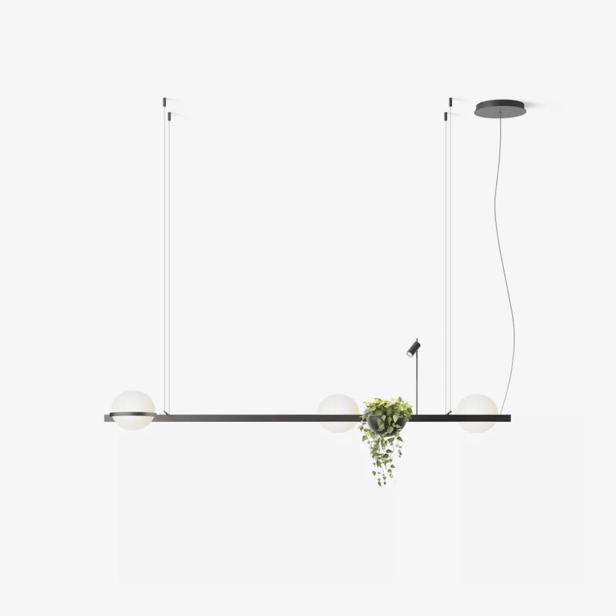 Lámpara colgante Palma triple esfera planta grafito Vibia-0