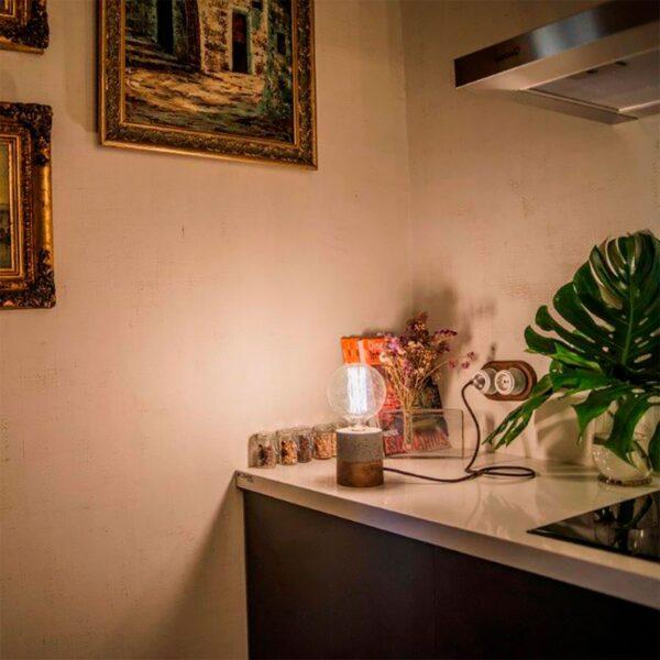 Lámpara de sobremesa Chorima madeiro gris A Vida-1503