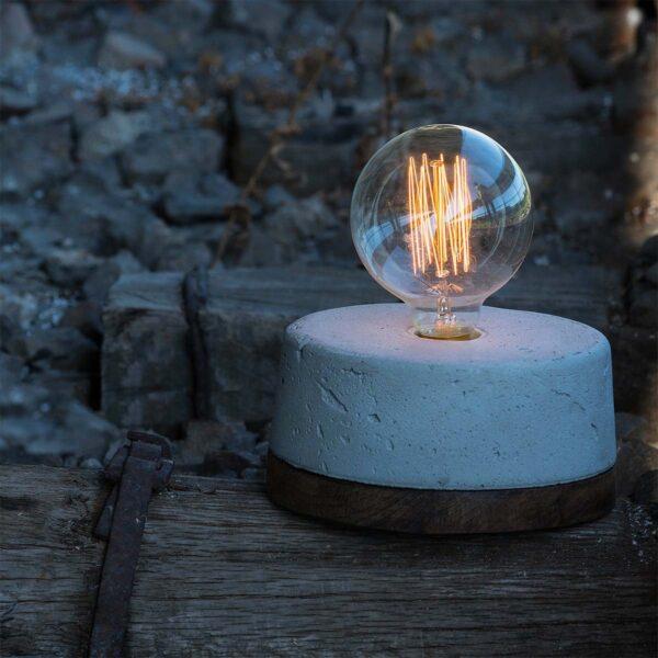Lámpara de sobremesa Queixo madeiro gris   A Vida