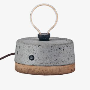 Concrete and wood Edison Rounded Table lamp