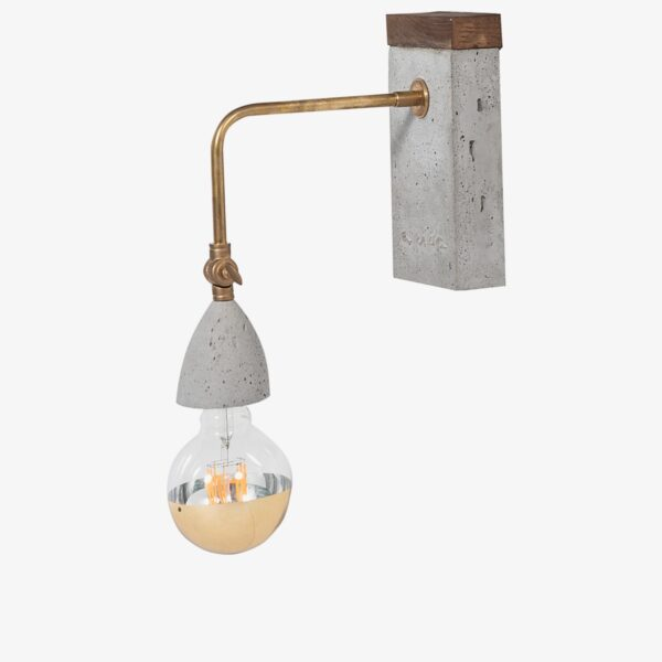 Lámpara aplique de pared cemento gris y madera | A Vida