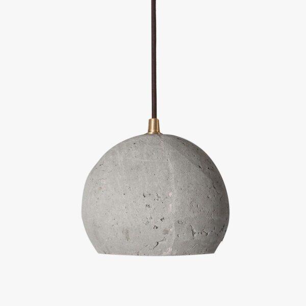 Lámpara colgante de cemento gris y madera esférica | A Vida