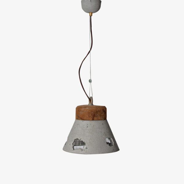 Lámpara colgante gris y madera Galiñeiro Avida