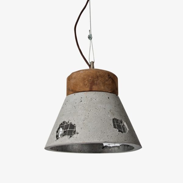 Lámpara colgante gris y madera Galiñeiro