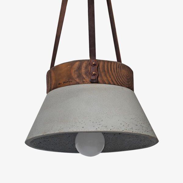 Lámpara colgante cemento gris Concrete and wood ceiling leather
