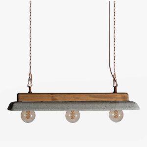 Lámpara colgante cemento gris y madera | Naval | A Vida