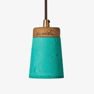 Lámpara colgante cemento verde y madera Toxo A Vida