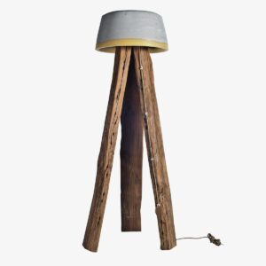 Lámpara de pie Cogomelo XL cemento y madera | A Vida