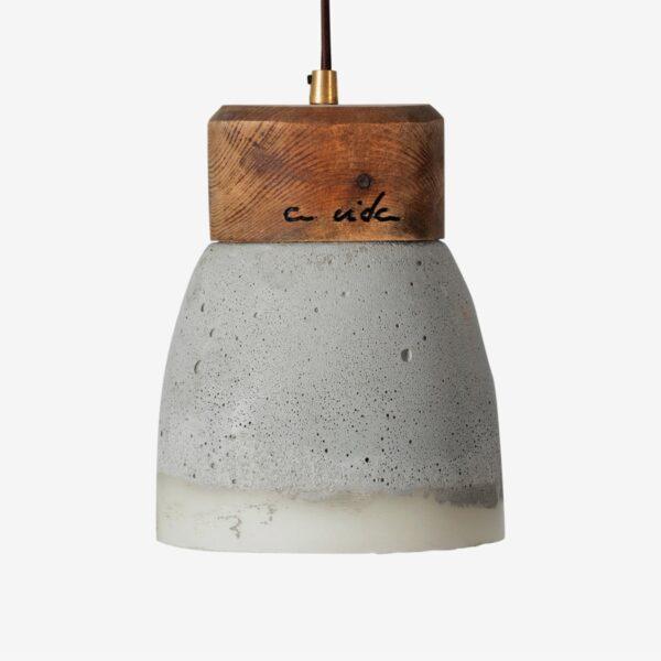 Lámpara colgante cemento gris Bico S resina y madera | A Vida