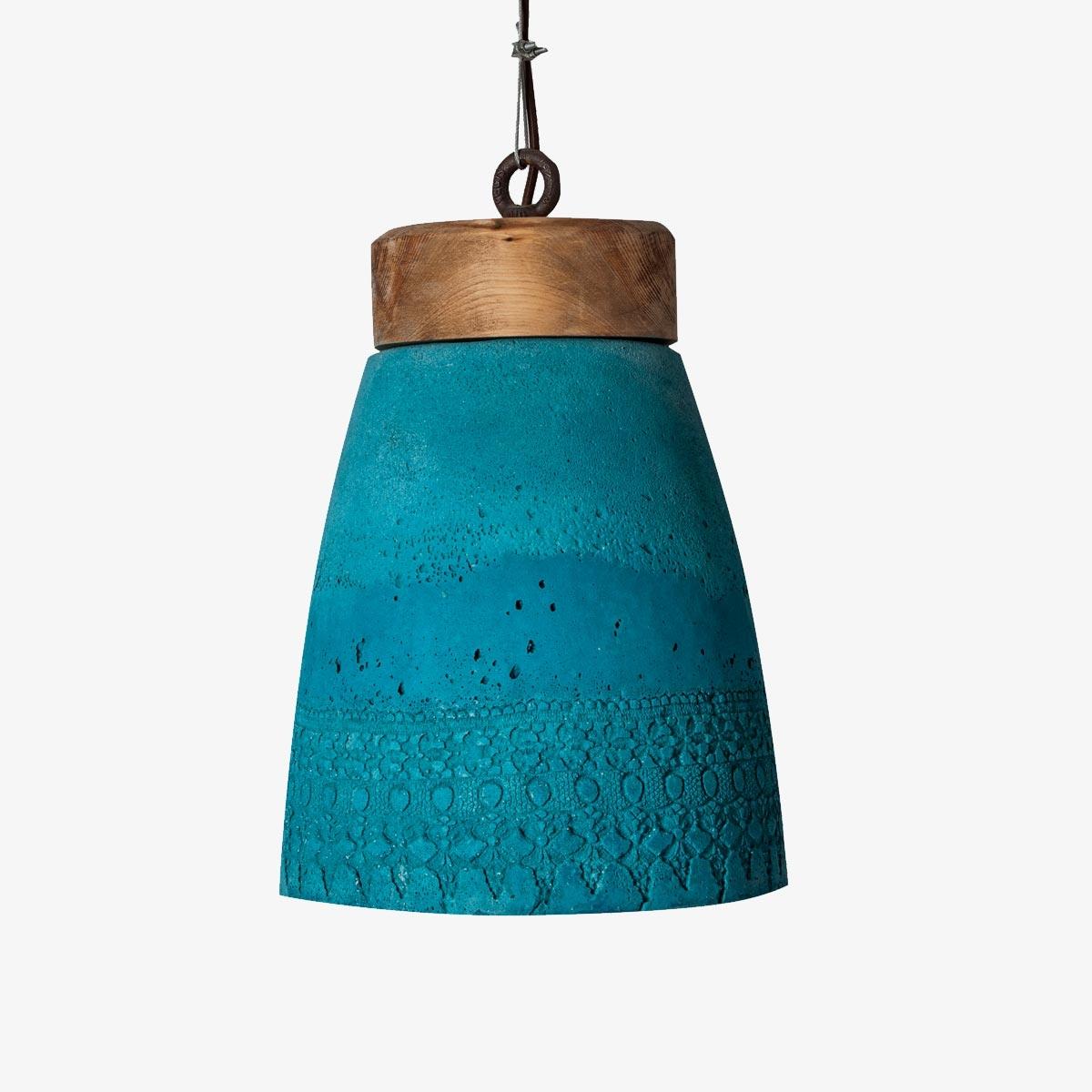 Lámpara colgante Caldeiro madeiro azul