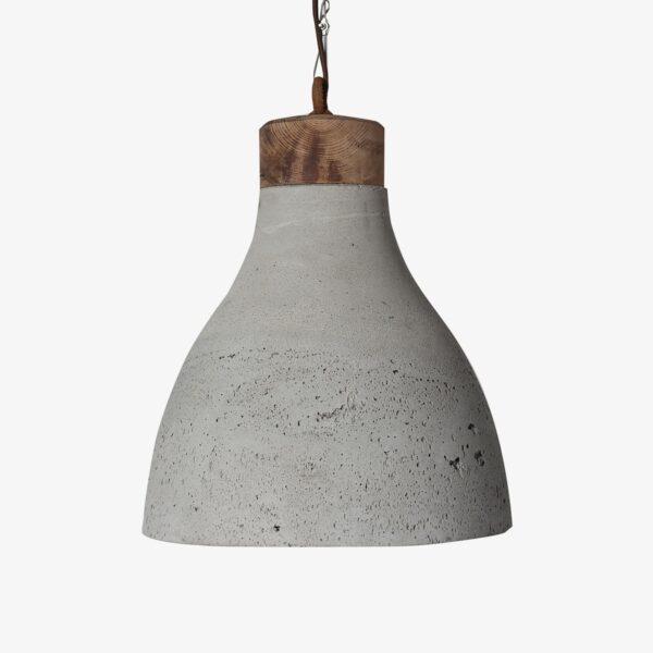 Lámpara colgante cemento gris y madera Campá