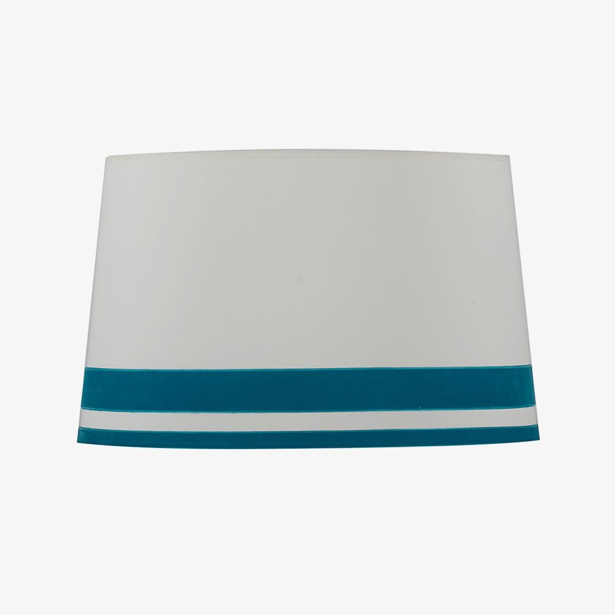 Pantalla Róterdam cinta terciopelo color azul turquesa   Diámetro 40 cm   Loneta blanca