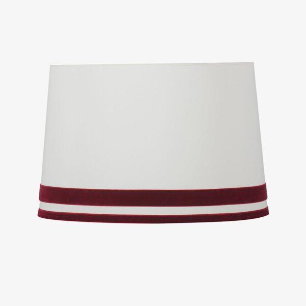 Pantalla Róterdam cinta terciopelo color granate | Diámetro 40 cm | Loneta blanca