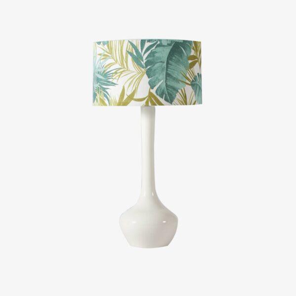 Lámpara de sobremesa con pantalla de hojas